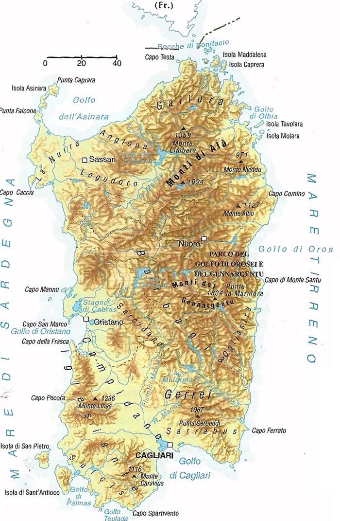 Cartina fisica sardegna monti sardegna fiumi sardegna for Isola che da il nome a un golfo della sardegna