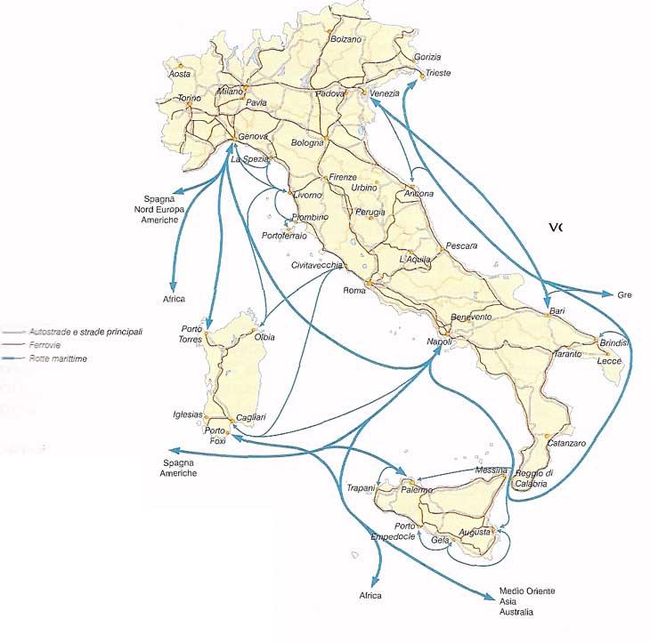 Italia Cartina Autostradale.Rotte Marittime Italia Strade Del Mare Italia