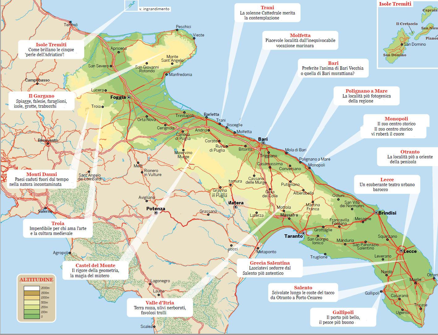 Cartina Puglia Gargano